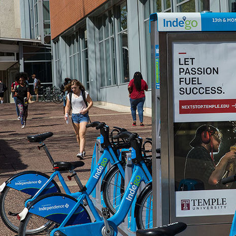 Indego bike share on 13th Street and Montgomery Avenue