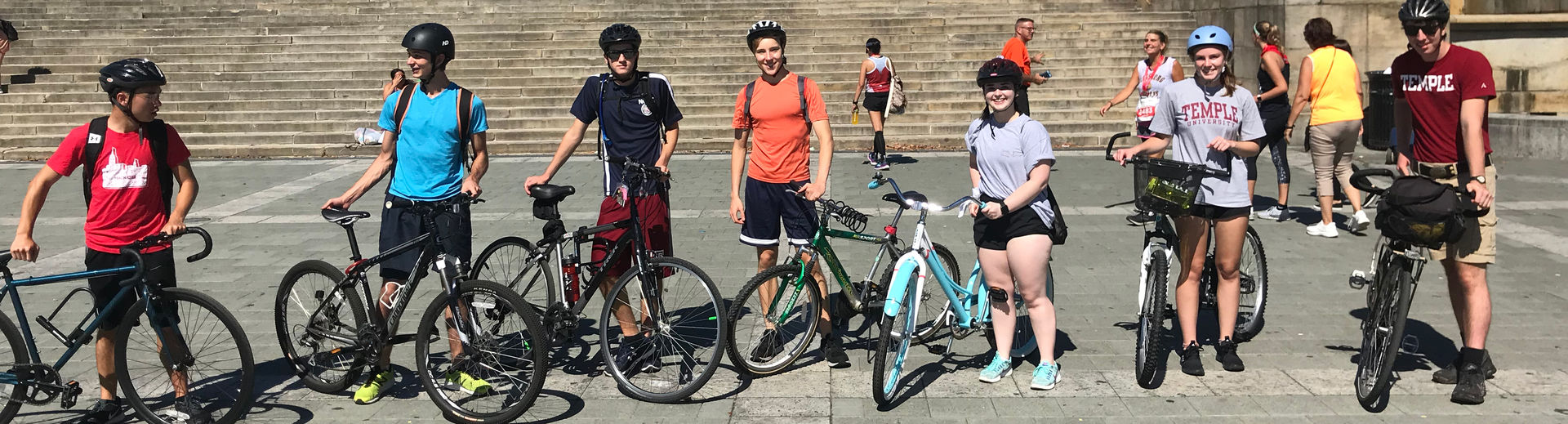 Students on a group ride.  Standing in from of the Philadelphia Museum of Art.